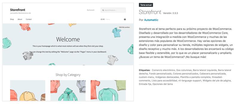 Tema Storefront para WooCommerce